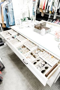 California Closets- A white custom closet dresser is fitted with jewelry drawers… - Home & DIY Walk In Closet Design, Bedroom Closet Design, Master Bedroom Closet, Closet Designs, Wardrobe Design, Closet Rooms, Bedroom Sofa, Closet Space, Small Walk In Closet Ideas