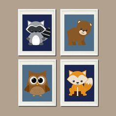 WOODLAND Nursery Art Animals Rustic Country Baby Boy Navy Decor Raccoon Bear Owl Fox WALL ART Set of 4 Prints Woodland Decor Bedding Picture