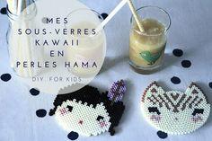 Mes sous-verres kawaii en perles Hama. #DIYforkids | By Little Ones Bead Art, Perler Beads, Diy For Kids, Pixel Art, Little Ones, Kawaii, Crochet Earrings, Christmas Ornaments, Hama Mini