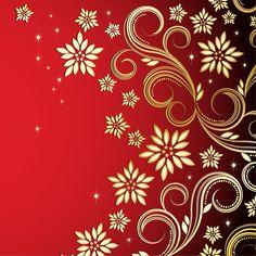 Bronze Floral Design on Red Background