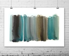 Abstract Watercolor Painting - original contemporary fine art - teal blue green grey black - nature - ombre gradient