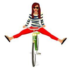 girl on a bicycle illustration - ll-creative.com                                                                                                                                                                                 Más