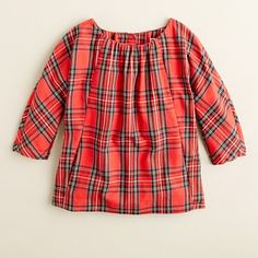 Girls Flannel Scottie top. Buttons down back.