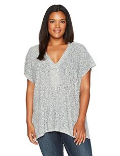 Women's Plus Size Heathered Lace up Short Sleeve Sweater