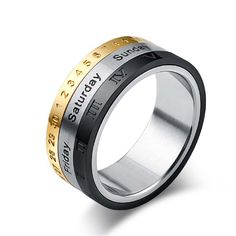 Buy Hot Sale Luck Ring Chinese Style Fashion Titanium Steel Ring Calendar Ring Creative Jewelry Accessories Ring at Wish - Shopping Made Fun Big Rings, Gold Rings, Rings For Men, Titanium Rings, Stainless Steel Rings, Engagement Jewelry, Unique Rings, Vintage Rings, Vintage Man
