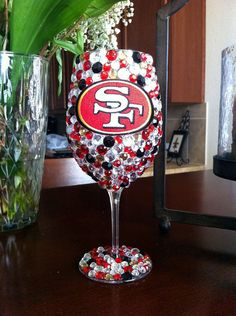 San Francisco 49ERS Bling Wine Glass by SparkledIntentions on Etsy, $35.00