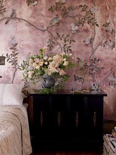 interior design, wall treatments, wallpapers, hous, mural, homes, flower, bedroom, painted walls