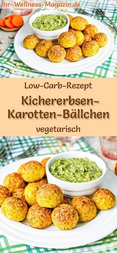 Low Carb Kichererbsen-Karotten-Bällchen mit Pesto - vegetarisches Hauptgericht Low carb recipe for chickpea and carrot balls - vegetarian dinner or lunch - low in carbohydrates, low in calories, healthy and ideal for losing weight Rezepte No Calorie Foods, Low Calorie Recipes, Diet Recipes, Healthy Recipes, Lunch Recipes, Soap Recipes, Muffin Recipes, Vegetarian Main Course, Vegetarian Main Dishes