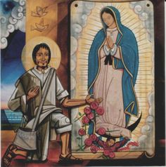 St Juan Diego and Our Lady of Guadalupe by Fray Chavez Mora Gabriel, Saints, Religious Art, Pilgrimage, Our Lady, Religion, Mexico, Princess Zelda, Painting