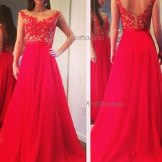 Red lace chiffon prom gown lace dress prom dress evening dress  This dress can be custom made, both size and color can be custom made. Custom size and color made will charge for no extra. If you need a custom dress, please send us messages for your detail requirements.  For custom size, we wi...