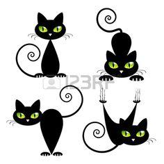Gato negro con los ojos verdes Vector Illustration Foto de archivo