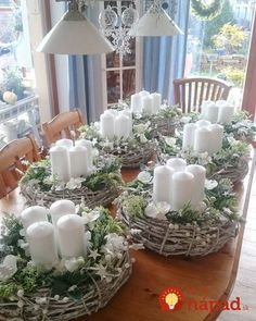 best diy christmas centerpieces easy + creative ideas 40 ~ my. best diy christmas centerpieces e. Primitive Christmas, Rustic Christmas, Christmas Diy, German Christmas, Christmas Candle Decorations, Christmas Table Settings, Table Decorations, Christmas Candles, Diy Candles With Flowers