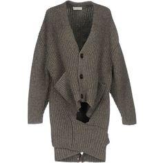 Balenciaga Cardigan ($710) ❤ liked on Polyvore featuring tops, cardigans, khaki, balenciaga top, long sleeve cardigan, khaki top, lightweight cardigan and v neck long sleeve top