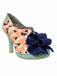 Irregular Choice Hook line and sinker fabric round toe court shoes