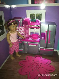 """The Our Generation Kitchen set for 18"""" dolls like American Girl - too cute and it comes with a ton of extras. Great set for play!"""