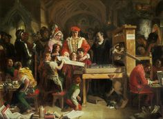 Edward IV, Elizabeth Woodville and family visit Caxton's workshop