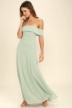 dd142eb09df Perfectly Poised Sage Green Off-the-Shoulder Maxi Dress