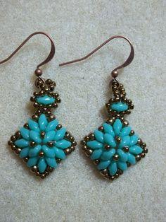 Hexagon Duo Earrings PDF Bead Weaving Tutorial by offthebeadedpath