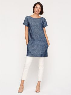 Ballet Neck Short-Sleeve Dress in Hemp and Organic Cotton Chambray