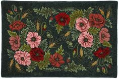 "hooked rugs: ""Poppy Seed"" designed by Heirloom Rugs, hooked by Peggy Hannum"
