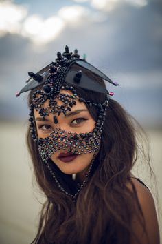 burning man photos - sexy - fetish accessories - designer jewelry - burning man costume - burner girl - desert love - headdress - couture headpiece - headband - black accessories - black jewelry - arabian princess