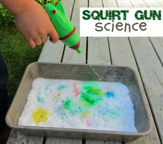 What kid won't love this? Squirt guns and baking soda volcanoes all in one fun science activity!