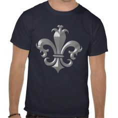 Fleur De LIs Fancy Silver Bevel Saints Classic Tee Shirts