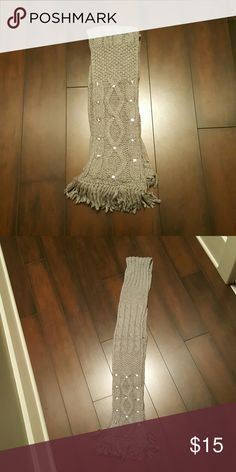 Gray Winter Scarf With Fringe and Rhinestones This winter scarf is light gray with hints of silver shimmer throughout and rhinestones towards the bottom. Victoria's Secret Other