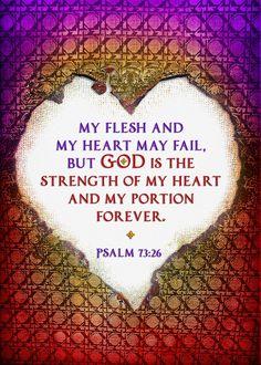 psalm quote bible strength heart love Text art