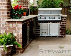 At Stewart Land Designs we specialize in the design and installation of custom pools, irrigation, lighting, pavers, retaining walls and water features. Outdoor Grill Area, Outdoor Grill Station, Outdoor Projects, Outdoor Decor, Outdoor Ideas, Backyard Ideas, Kitchen Grill, Built In Grill, Backyard Paradise