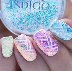 Pixel Effect by Paulina's Passions #nails #nail #nailsart #indigonails #indigo #pixel #effect #cinderella #effectnails #glitter