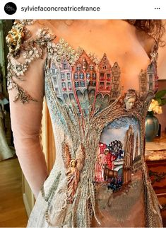 French Dress Embroidery Couture medieval handmade