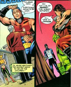 Atom-Smasher saves his mother's life, but at what cost? From JSA #15 (2000); art by Stephen Sadowski and Michael Bair.