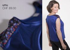 """etris setzt Akzente mit der Integration von grafischen Stoffkreationen von Nathalie Pellon. Nathalie bringt es mit ihren Designs immer auf den Punkt. Ihr gesamtes Sortiment verkauft Sie im @ooonyva in der Münstergasse. etris hat diesen Sommer drei dieser tollen Stoffe inszeniert. Zum Beispiel mit der Variante """"Veruschka"""" im Modell """"umu"""".  #fairkleid #slowfashion #nachhaltigkeit #sustainability #fashion #design #swissmade #handmade Jersey Shirt, Designs, Shirts, Fashion, Full Stop, Sustainability, Shoulder, Fabrics, Scale Model"""