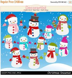 Images have been drawn by me. Perfect for making your own paper craft, scrapbooking, incorporate with cards and much more. You can print at home as much as you want to. ***************************** You will receive: ***************************** 1 of each snowman as shown in the