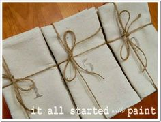 These drop cloth napkins are so cute! Love all these great drop cloth project ideas!