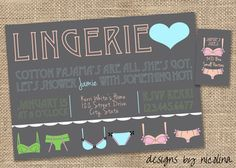Vintage Typography Poster Style - Lingerie Shower and Matching Sizes Card Invitations