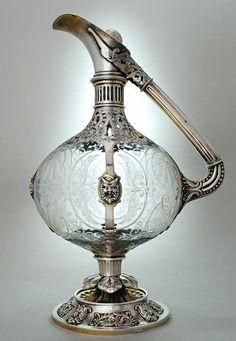 silver-mounted engraved glass claret jug by Edward Henry Stockwell, London, Bronze, Vintage Silver, Antique Silver, Vases, Argent Antique, Jugendstil Design, Crystal Decanter, Wine Decanter, Antique Glass