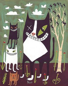 One Eyed Tuxedo Cat Painting with Other Cats Too - 8x10 Folk Art Illustration in Blue, Green, and Brown