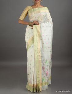 Shreya Off White Traditional Mercerized #ChanderiSilkCottonSaree