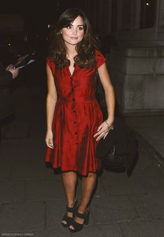 Jenna Louise Coleman Is Lovely In Little Red Dress At Charlie And The Chocolate Factory Press Night