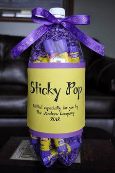 "Great teacher gift ""Sticky Pop"" - pop bottle filled with glue sticks. BTW, my classroom is out of glue sticks!"