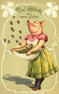 Domestic Pig wishes you good luck in the New Year!  German postcard, early 20th c. (via)