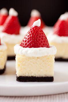 Santa Hat White Chocolate Cheesecake Bites.