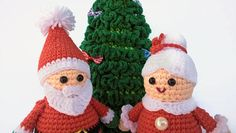 Crocheted Set Christmas Toy - Christmas tree, Santa Claus and Mrs. Santa Claus   Cute Santa Claus, Mrs. Santa Claus and Christmas tree will be a wonderful decoration for your home for Christmas and New Year.    Height crocheted Santa Claus 14 cm ( 5.51 )  Down the diameter of the toy 5.5 cm ( 1.97 )    Height crocheted Mrs. Santa Claus 12 cm ( 4.72 )  Down the diameter of the toy 5.5 cm ( 1.97 )    Height of the Christmas tree 23 cm (9.06)  The width at the bottom is 11 cm. (4.33)  Bows just…