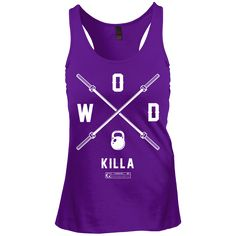 """NOT SOLD IN STORES! Show off your fitness enthusiasm and your personality with these awesome """"WOD Killa (Crossfit Shirt)"""" Ladies Tees & Tanks by GYMRATED® - sure to get a laugh every time! Guaranteed"""