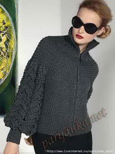 Knitting Patterns Jacket Jacket from bulk threads – a record of the user olga (Olga … Cardigan Pattern, Jacket Pattern, Crochet Cardigan, Knit Crochet, Grey Cardigan, Knit Fashion, Sweater Fashion, Knitting Designs, Knitting Patterns