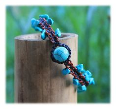 Turquoise Split Stones Macrame Bracelet with Coppery & Brown String by Malatichan on Etsy