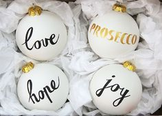 Prosecco Gift Set of Four Ceramic Baubles