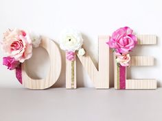 Three pink and gold floral wooden letters spelling by RosyRilli